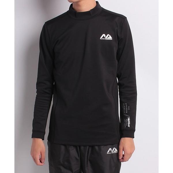 (セール)Number(ナンバー)メンズスポーツウェア コンプレッション長袖 裏起毛ストレッチシャツ(厚)NB-F18-010-008 メンズ ブラック