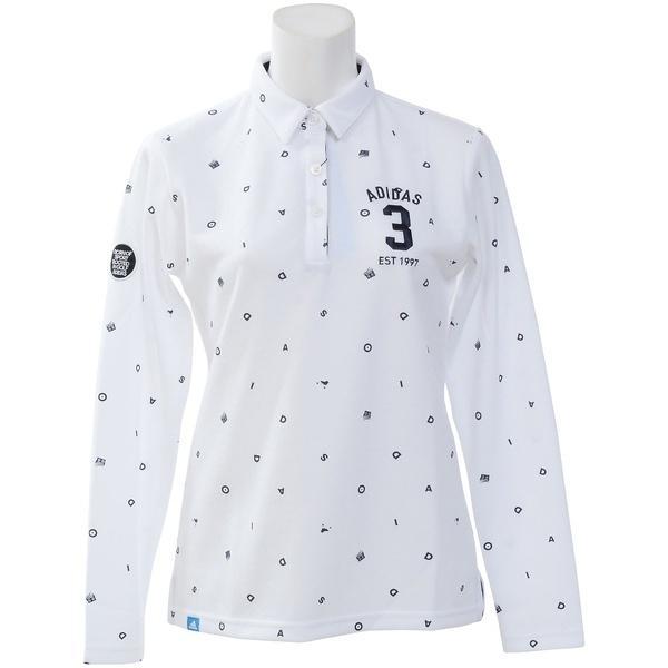 (セール)(送料無料)adidas(アディダス)ゴルフ レディース長袖ポロ 長袖ハイネック JP ADICROSS モノグラム L/S ラウンドカラーシャツ CCT19-U31491 レディース ホワイト