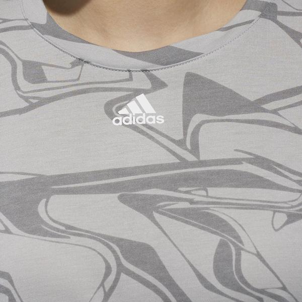 (セール)adidas(アディダス)レディーススポーツウェア ワークアウトTシャツ TOPS W M4Tトレーニング 総柄Tシャツ FAO67 DJ2981 レディース グレーTWO F17