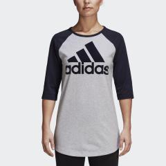 (セール)adidas(アディダス)レディーススポーツウェア スポーツカジュアルトップス W SID カラーブロック7分丈 Tシャツ EUG05 DQ2966 レディース ライトグレーヘザー/レジェンドインクF17