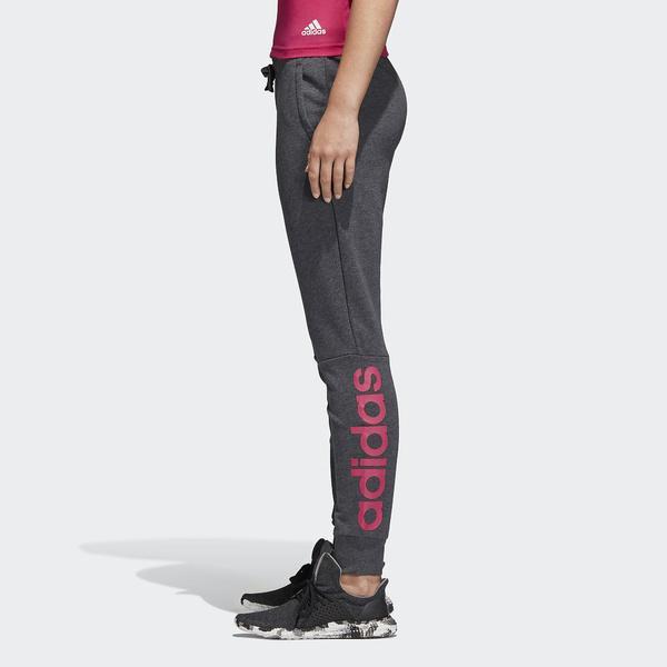 (セール)adidas(アディダス)レディーススポーツウェア スウェット W ESS リニアスウェットパンツ BX383 CZ5738 レディース ダークグレイヘザー/リアルマゼンタ F18