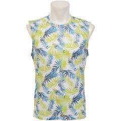 (セール)Number(ナンバー)ランニング メンズ半袖Tシャツ RUN リーフプリント ノースリーブTシャツ NB-S19-008-025 メンズ ホワイト