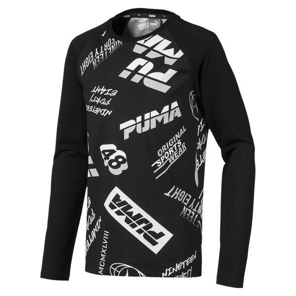(セール)PUMA(プーマ)ジュニアスポーツウェア Tシャツ ALPHA LS AOP Tシャツ 84395201 ボーイズ ブラック