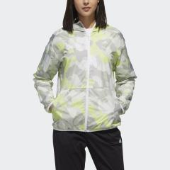 (セール)adidas(アディダス)レディーススポーツウェア ウインドアップジャケット W S2S グラフィックウィンドブレーカーフーディージャケット FTK36 DV0773 レディース ホワイト/ハイレゾイエローS19
