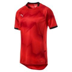 (セール)PUMA(プーマ)サッカー 半袖プラクティスシャツ FTBLNXT グラフィック シャツ 65622004 メンズ レッド ブラスト/プーマ ブラック