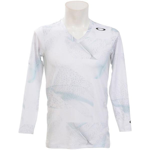 (セール)OAKLEY(オークリー)ゴルフ 長袖ポロ 長袖ハイネック TECHNICAL UNDER V NECK 9.0 434386JP 186 メンズ 白い PRINT