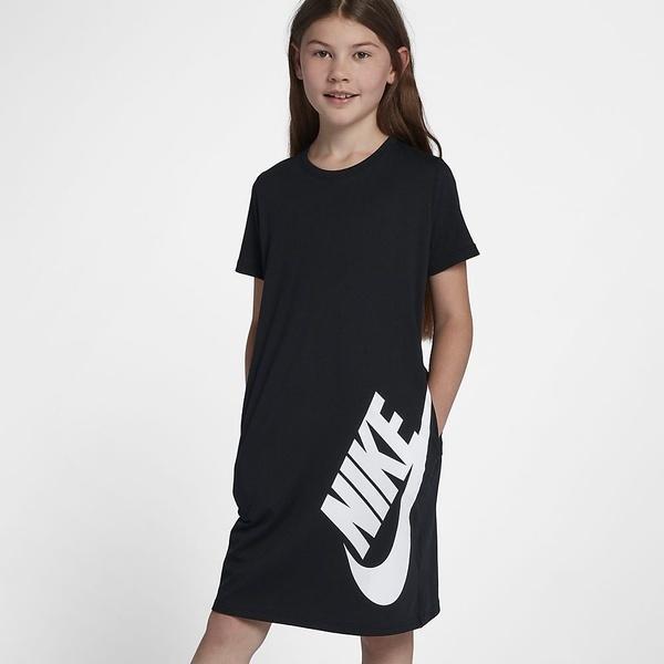 (セール)NIKE(ナイキ)ジュニアスポーツウェア Tシャツ ナイキ YTH ガールズ Tシャツ ドレス AQ0613-010 ガールズ 1 ブラック/(ホワイト)