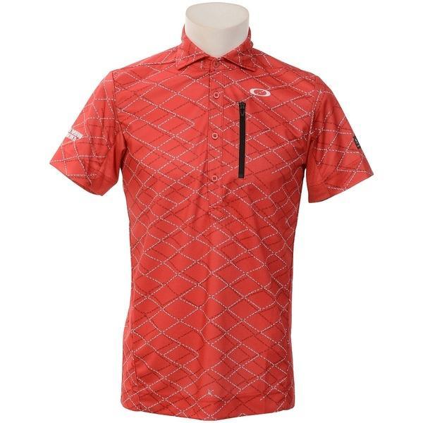 (送料無料)OAKLEY(オークリー)ゴルフ 半袖ポロ 半袖ハイネック SKULL DISPLACE GRID SHIRTS FOA400796-40T RED PRINT