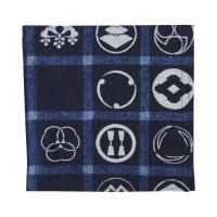 藍木綿 コースター日本製 インディゴ(家紋散らし文)