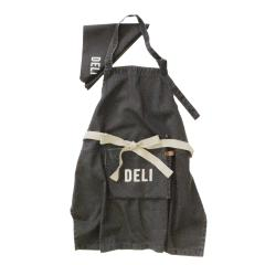 子供用エプロン 男の子 女の子 エプロンバッグ 三角巾付き 二段階調整機能 キッズサイズ (デリ(ブラック))
