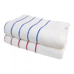 <2枚セット>バスタオル デイリーボーダー 泉州タオル 日本製 タオル(ブルー×レッド)