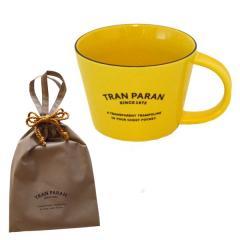 (敬老の日ギフト/敬老の日カード付)マグカップ 大きめ 北欧 カラー 9色 カフェ風 TRANPARAN (イエロー)