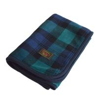 マイヤーブランケット ひざ掛け スナップボタン付き 着る毛布 にもOK(タータンチェックグリーン)