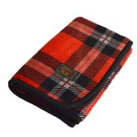 マイヤーブランケット ひざ掛け スナップボタン付き 着る毛布 にもOK(タータンチェックレッド)