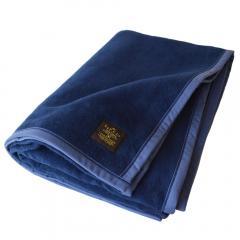 <送料無料>毛布 シングル クーベルチュール 綿毛布 日本製 (インディゴブルー)