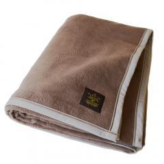 <送料無料>毛布 シングル クーベルチュール 綿毛布 日本製 (ブラウン)