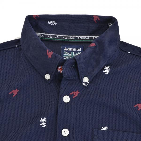 アドミラル(Admiral) 総柄 千鳥 ランパント半袖ボタンダウンポロシャツ ADMA777-NVY(Men's)