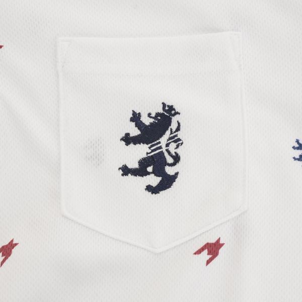 アドミラル(Admiral) 総柄 千鳥 ランパント半袖ボタンダウンポロシャツ ADMA777-WHT(Men's)