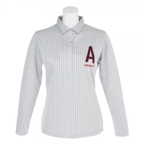 アディダス(adidas) AロゴストライプLSシャツ CCQ30-N68208ホワイト(Lady's)
