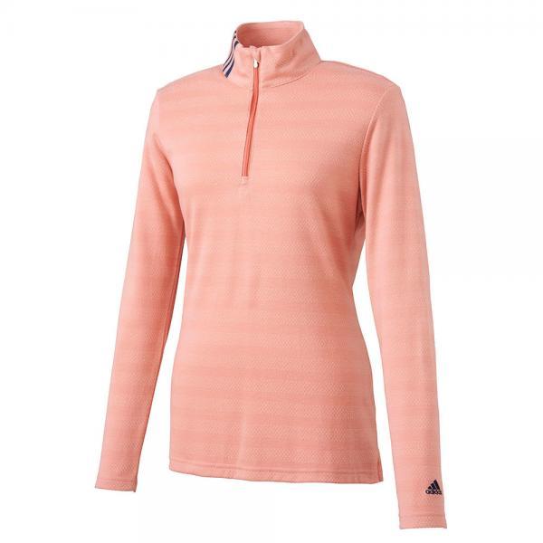 アディダス(adidas) ストレッチストライプ ハーフジップモック長袖シャツ CCQ15-N68154Lピンク(Lady's)