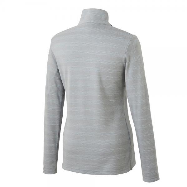 アディダス(adidas) ストレッチストライプ ハーフジップモック長袖シャツ CCQ15-N68155グレー(Lady's)