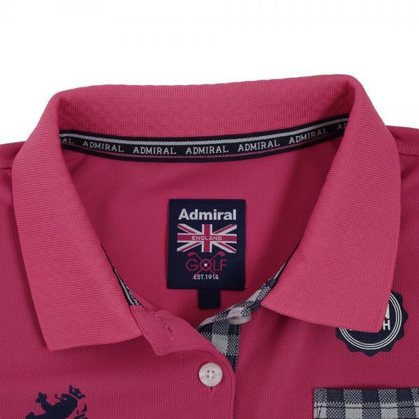 アドミラル(Admiral) ポケットギンガム ポロシャツ ADLA822-PNK(Lady's)