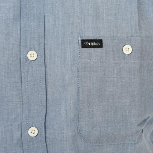 BRIXTON CENTRAL S/S WOVEN メンズ トップス 半袖シャツ 404-06300-0100 L BLUE CHAMB(Men's)