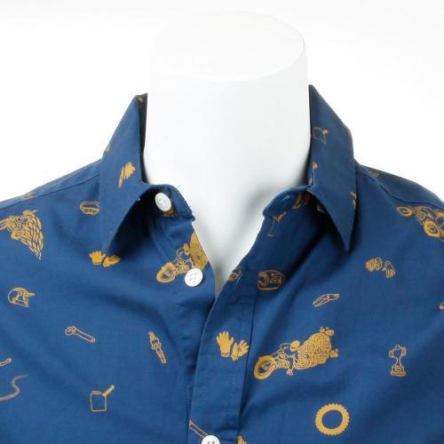 メンズ プリント 半袖 布帛シャツ WHEELIE SHORT SLV 611140