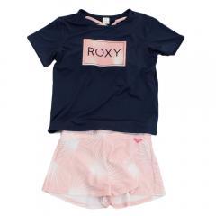 ロキシー(ROXY) ジュニア ラッシュTシャツ付き ボタニカル柄 3点セット MINI PALM DANCE 19SPTSW191103NVY(Jr)
