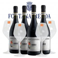 バローロ 2014年 フォンタナフレッダ 750ml×4本 クリスタルワイングラス4脚セット 正規 (イタリア 赤ワイン)の画像