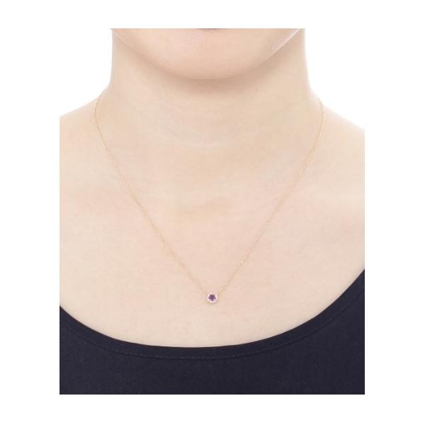 カラーストーン(アメシスト)×メレダイヤ ネックレス