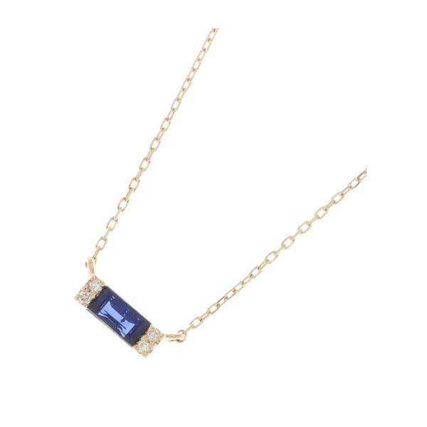 カラーストーン(サファイア×ダイヤ)バゲットカット ネックレス