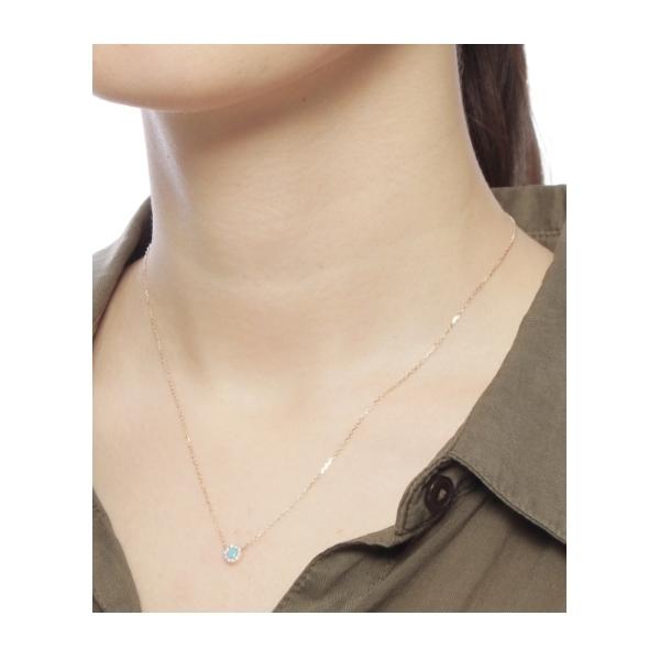 カラーストーン(ターコイズ)ラウンド×メレダイヤ ネックレス