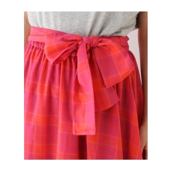 チェック柄サッシュリボンスカート