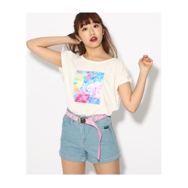 転写オープンショルダーTシャツ
