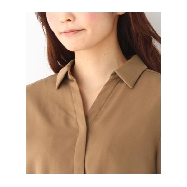 サテンツイルシャツ風ワンピース