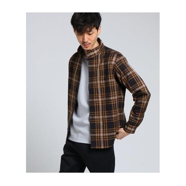 fc6fd39e7d103f ... [大きいサイズ]スタンドカラーツイルシャツ [ メンズ トップス シャツ ベーシック ブルゾン 羽織 スタンド ...