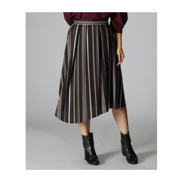 [L]〔洗える〕イレギュラーヘムストライプスカート