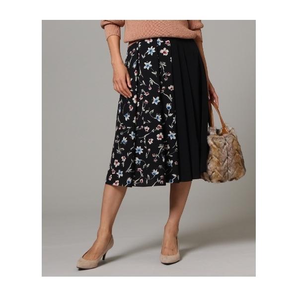 【洗える】フラワー配色フレアスカート