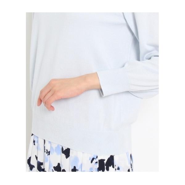 [L]〔洗える〕シルク混パフスリーブニットプルオーバー