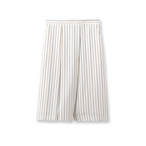 [L]〔洗える〕ミックスストライプ膝丈パンツ