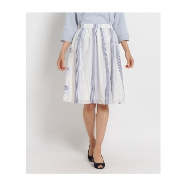 〔洗える〕ストライプフレアスカート