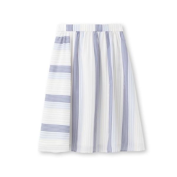[L]〔洗える〕ストライプフレアスカート