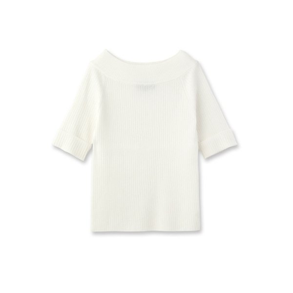 [L]〔洗える〕五分袖ワイドリブニット