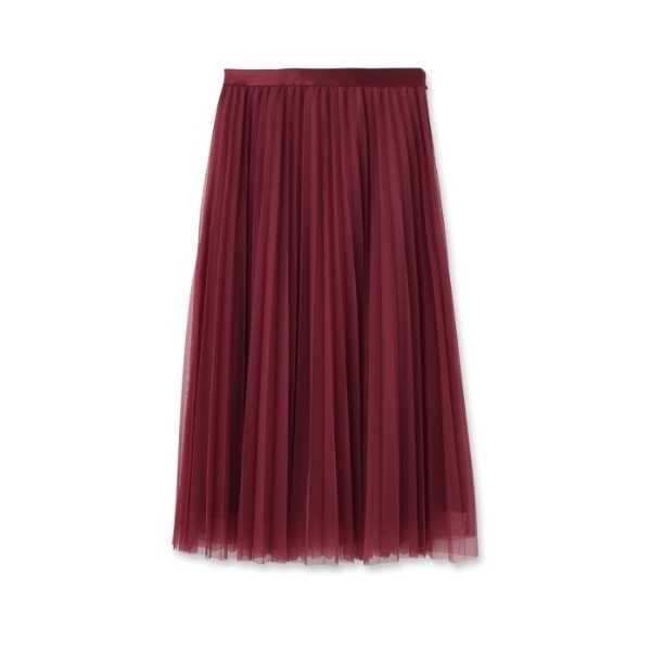 [L]〔洗える〕チュールプリーツスカート