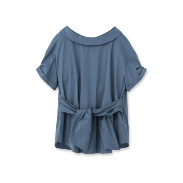 [L]〔洗える〕オフタートル風ベルテッドシャツ