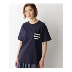 【WEB限定】ボーダー スター 異素材ポケットTシャツ