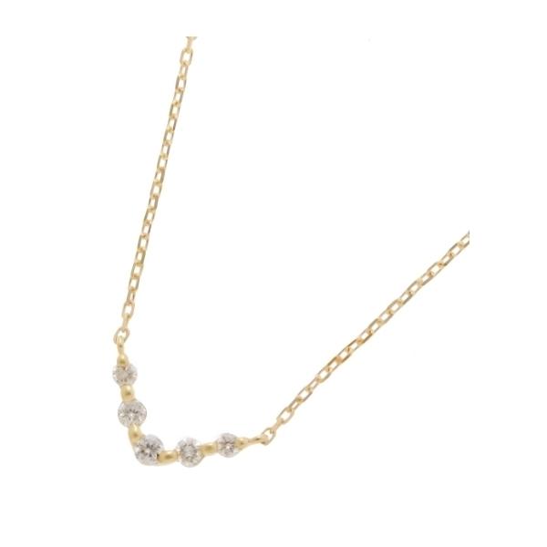 K18ダイヤモンド グラデーションV字5石 ネックレス小