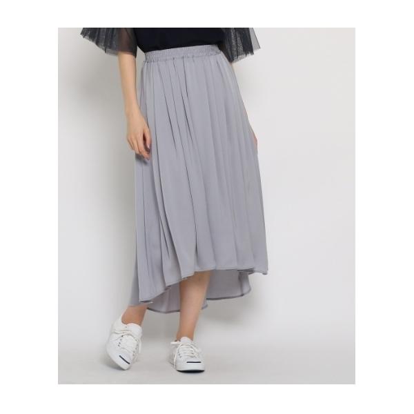 【洗える】【ウエストゴム】前後アシメギャザースカート
