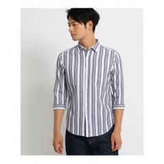 ストライプ7分袖カジュアルシャツ